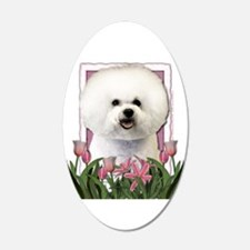 Mothers Day Pink Tulips Bichon 22x14 Oval Wall Pee