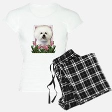 Mothers Day Pink Tulips Bichon Pajamas