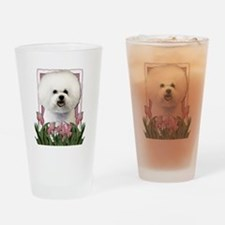 Mothers Day Pink Tulips Bichon Drinking Glass