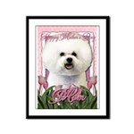 Mothers Day Pink Tulips Bichon Framed Panel Print