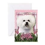 Mothers Day Pink Tulips Bichon Greeting Cards (Pk