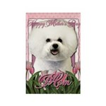Mothers Day Pink Tulips Bichon Rectangle Magnet (1