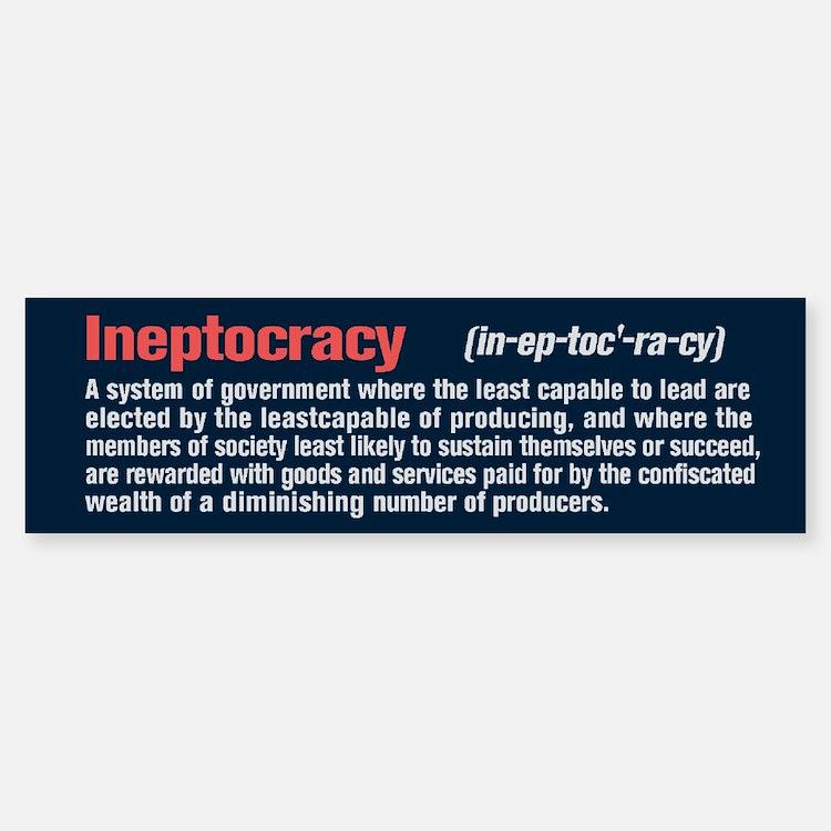 Ineptocracy Definition Sticker (Bumper)