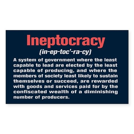 Ineptocracy Definition Sticker (Rectangle)