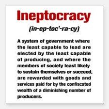 """Ineptocracy Definition Square Car Magnet 3"""" x 3"""""""