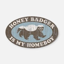 Vintage Honey Badger HB Oval Car Magnet
