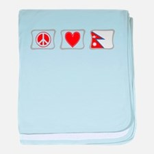 Peace, Love and Nepal baby blanket