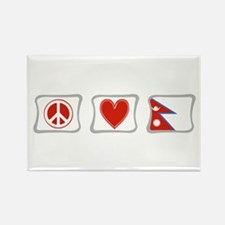Peace, Love and Nepal Rectangle Magnet