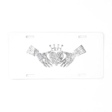 white claddagh Aluminum License Plate
