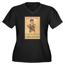 Cute Militant radical librarian Women's Plus Size V-Neck Dark T-Shirt
