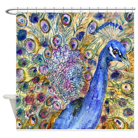 Amethyst Peacock Bathroom Shower Curtain