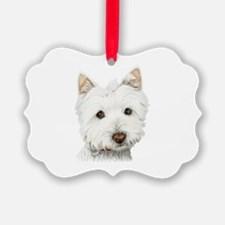 pastel on canvas westie.jpg Ornament
