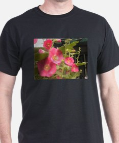 Pink (Lady) Hollyhock Flower T-Shirt