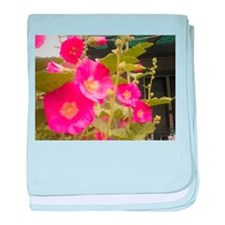Pink (Lady) Hollyhock Flower baby blanket