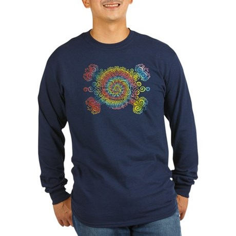 Tie-Dyed Antique Skull Long Sleeve Dark T-Shirt