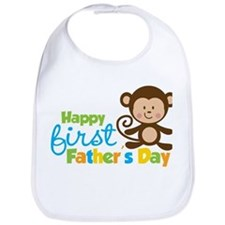 Boy Monkey Happy 1st Fathers Day Bib