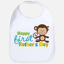 Boy Monkey Happy 1st Fathers Day Bib