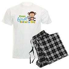 Boy Monkey Happy 1st Fathers Day Pajamas