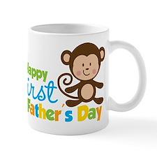 Boy Monkey Happy 1st Fathers Day Small Mug