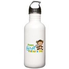 Boy Monkey Happy 1st Fathers Day Water Bottle
