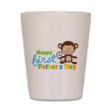 Boy Monkey Happy 1st Fathers Day Shot Glass