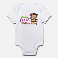 Girl Monkey Happy 1st Fathers Day Onesie