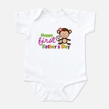 Girl Monkey Happy 1st Fathers Day Onesie