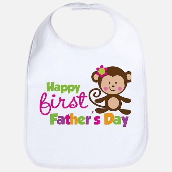 Girl Monkey Happy 1st Fathers Day Bib
