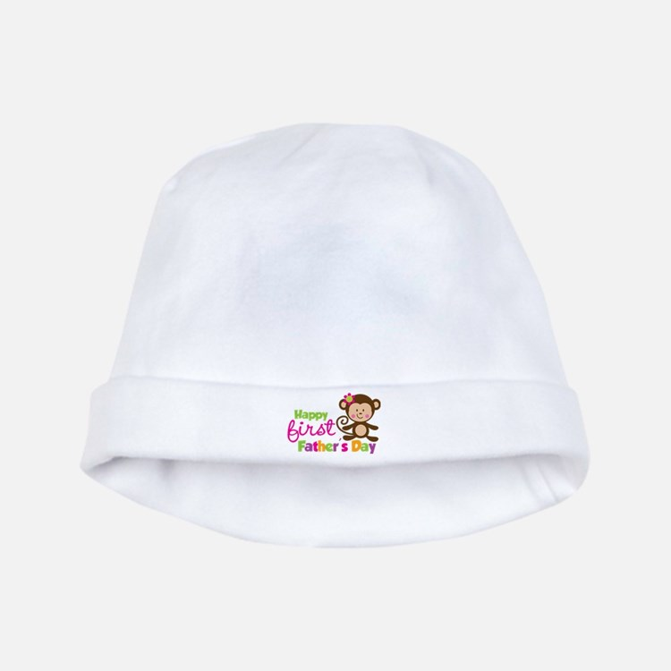 Girl Monkey Happy 1st Fathers Day baby hat