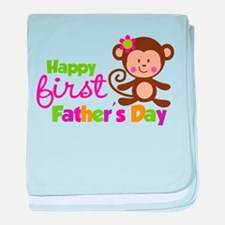Girl Monkey Happy 1st Fathers Day baby blanket