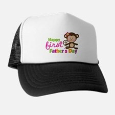 Girl Monkey Happy 1st Fathers Day Trucker Hat