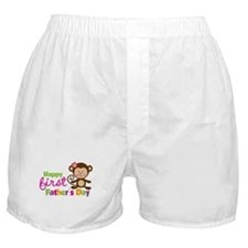 Girl Monkey Happy 1st Fathers Day Boxer Shorts