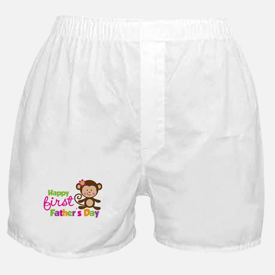 Girl Monkey Happy 1st Fathers Day Boxer Shorts