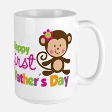 Girl Monkey Happy 1st Fathers Day Mug