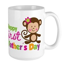 Girl Monkey Happy 1st Fathers Day Mug
