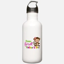 Girl Monkey Happy 1st Fathers Day Water Bottle