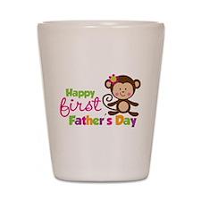 Girl Monkey Happy 1st Fathers Day Shot Glass