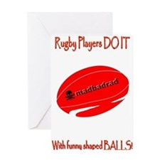 Rugby Funny Shaped Balls 6000.png Greeting Card