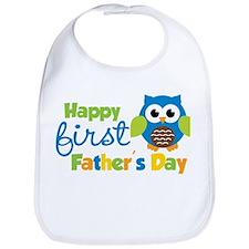 Boy Owl Happy 1st Fathers Day Bib