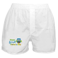 Boy Owl Happy 1st Fathers Day Boxer Shorts