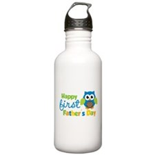 Boy Owl Happy 1st Fathers Day Water Bottle