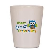 Boy Owl Happy 1st Fathers Day Shot Glass