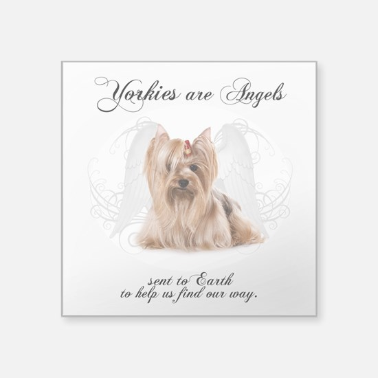 "Angel Yorkie Square Sticker 3"" x 3"""