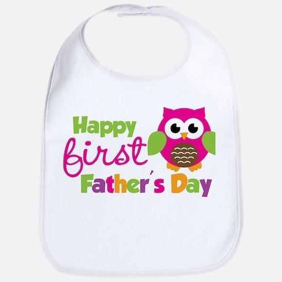 Girl Owl Happy 1st Fathers Day Bib