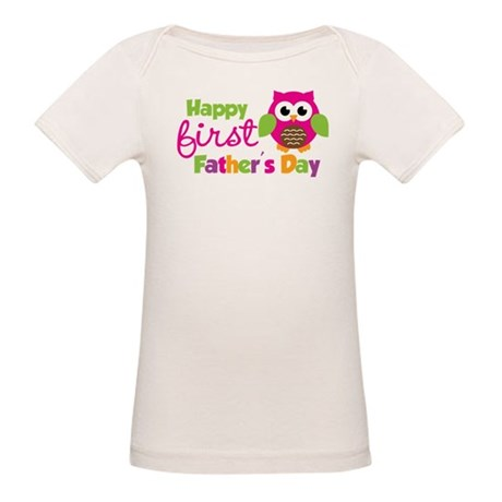 Girl Owl Happy 1st Fathers Day Organic Baby T-Shir