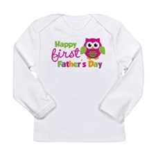 Girl Owl Happy 1st Fathers Day Long Sleeve Infant