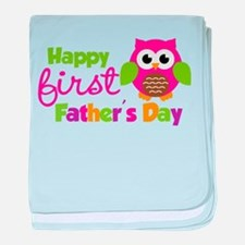 Girl Owl Happy 1st Fathers Day baby blanket