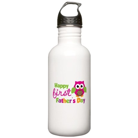 Girl Owl Happy 1st Fathers Day Stainless Water Bot