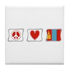 Peace, Love and Mongolia Tile Coaster