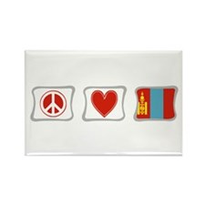 Peace, Love and Mongolia Rectangle Magnet